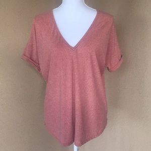 {Bar III}Sz Large Orange/Gry Short Sleeve T-shirt